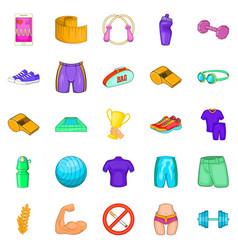 sport school icons set cartoon style vector image