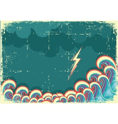Storm in ocean with waves and lightning vector