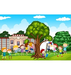 Students playing in the school yard vector image vector image