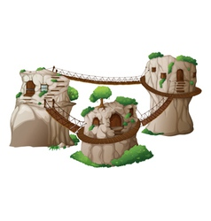 Tree houses with hanging bridges vector