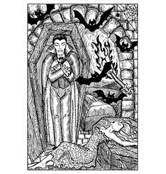 vampire engraved fantasy vector image vector image