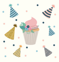 White dotted background with decorative party hat vector