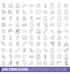 100 firm icons set outline style vector image