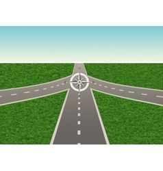 Intersection on the highway with compass vector