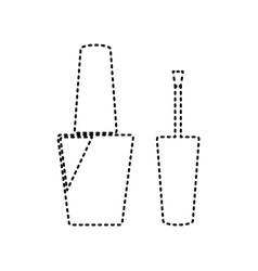 nail polish sign black dashed icon on vector image