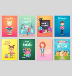 Back to school card set school kids chalkboards vector