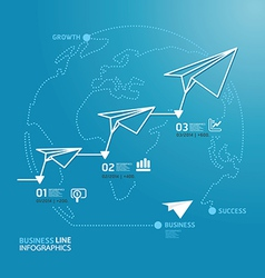 Business diagram paper airplanes line style vector