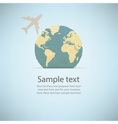 World map recycled paper craft stick on white vector