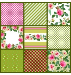 Set of patterns and floral seamless with roses vector