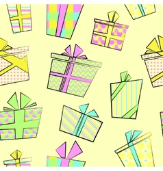 Seamless pattern with flat cartoon style present vector