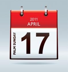 palm Sunday calendar vector image