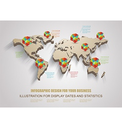 3d world map with modern elements of info gr vector