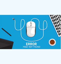 404 mouse error page not found flat vector image vector image