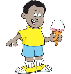 Cartoon african boy eating an ice cream cone vector