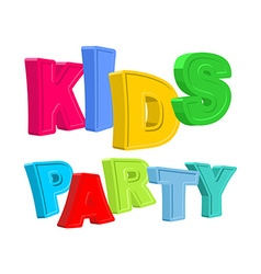 Kids party text of colored cartoony characters vector