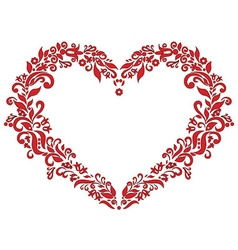 Embroidery inspired heart shape in red with floral vector