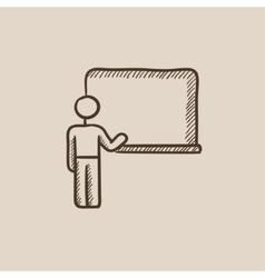 Professor pointing at blackboard sketch icon vector