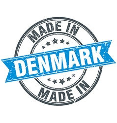 Made in denmark blue round vintage stamp vector