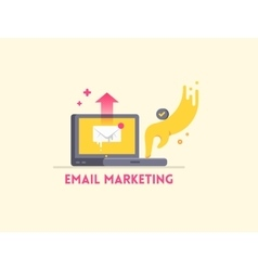Email marketing icon concept Laptop with hand vector image