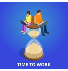 Time to work or Time management project plan vector image