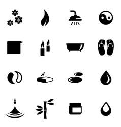 Black spa icon set vector