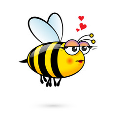 A friendly cute female bee in love vector