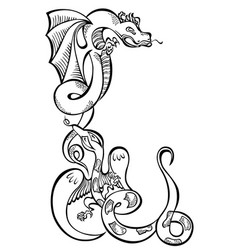 animal two dragons black decorative art vector image vector image