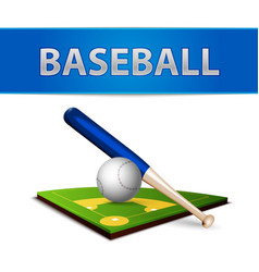 Baseball ball bat and green field emblem vector