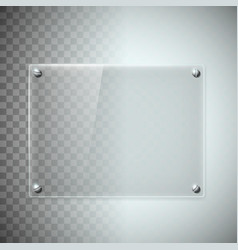 Blank transparent glass plate texture of plastic vector