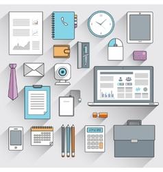 Business items set flat line vector image