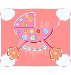 card for baby perambulator for girl vector image