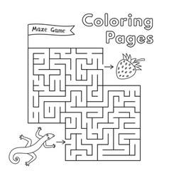 Cartoon lizard maze game vector