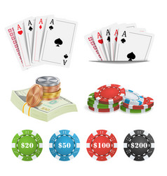 casino design elements poker cards chips vector image