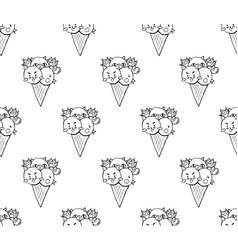 Cat dog chicken ice cream on white background vector