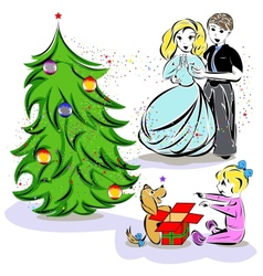 Christmas family vector image