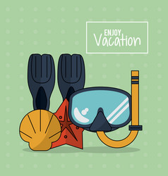 Colorful poster of enjoy vacation with snorkel vector