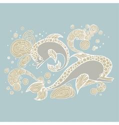 Dolphin doodle sketch vector