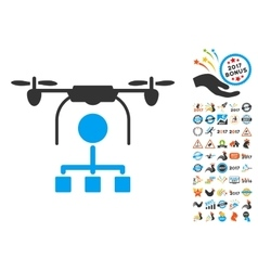 Drone Distribution Icon With 2017 Year Bonus vector image vector image
