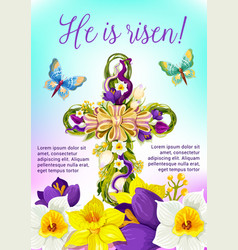 Easter cross with flowers and ribbon card design vector