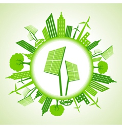 Eco cityscape with solar panel vector