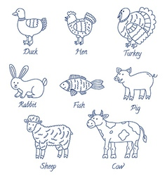 Farm animals cartoon set vector image