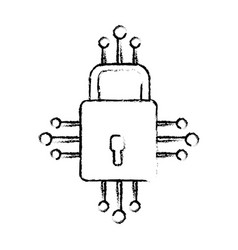 Figure padlock with circuits to security dgital vector