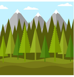 Flat landscape of forest of conifers and mountains vector