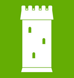 Fortress tower icon green vector