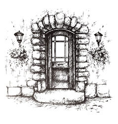 Freehand drawing of old front door vector image