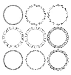 hand drawn round frames design elements vector image