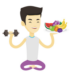Healthy man with fruits and dumbbell vector