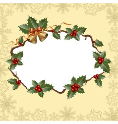 holly frame vector image vector image