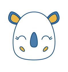 Kawaii rhino icon vector
