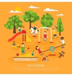 Kids plaing poster vector